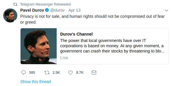 Tweet von Pavel Durov, durch Tweets online einen Ruf aufbauen