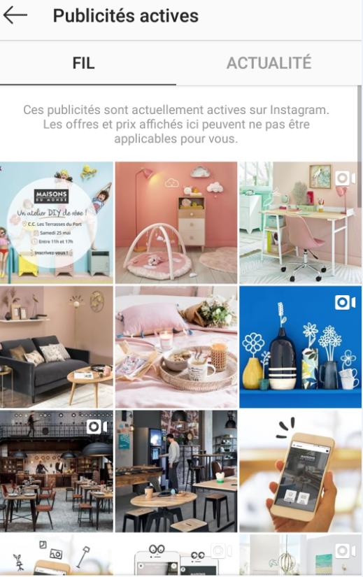 publicité actives instagram maisons du monde