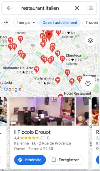 résultat recherche restaurant italien google my business carte