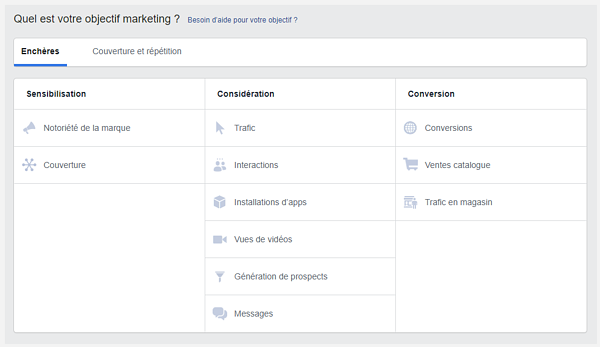 objectifs marketing facebook