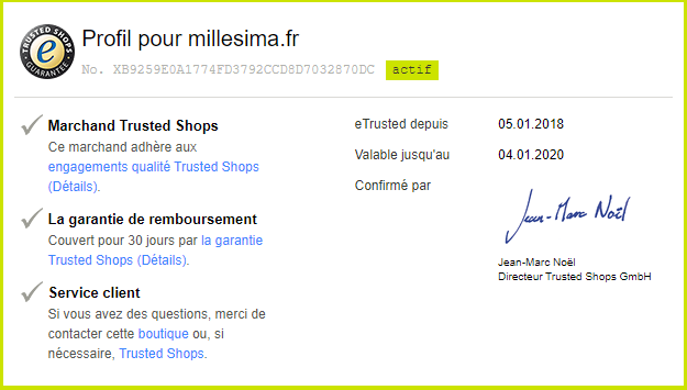 Trustbadge Millésima