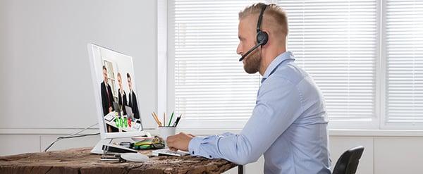 vidéoconférence à domicile en télétravail