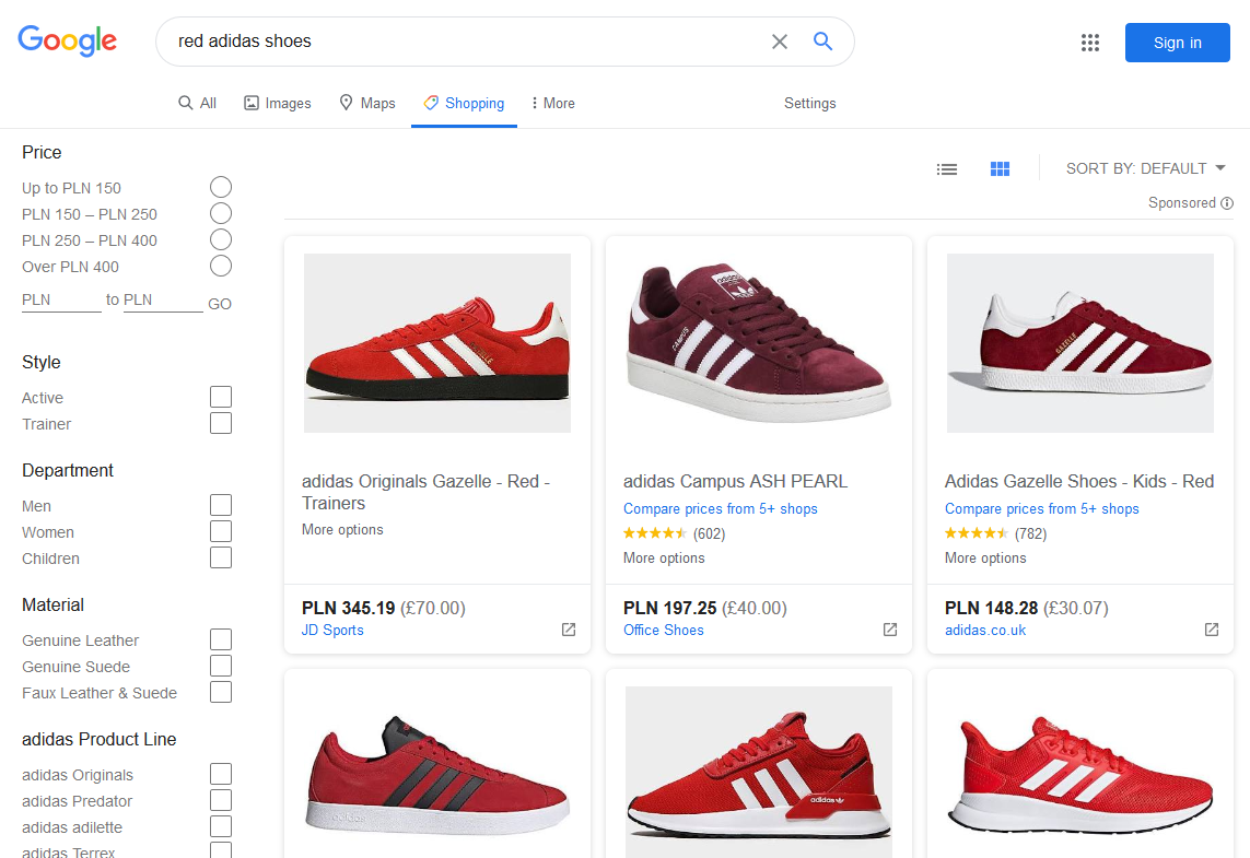 red-adidas-shoes-shopping-section