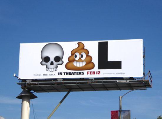 con emojis una valla publicitaria de Marvel <<Deadpool>>
