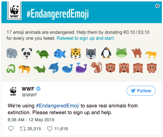 campaña en Twitter con emojis WWF